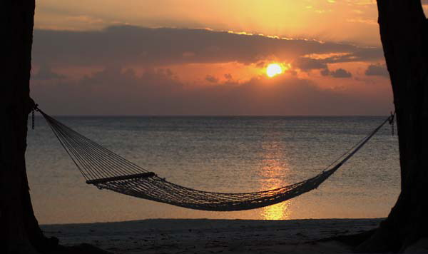 Sunset with hammock at Rum Point